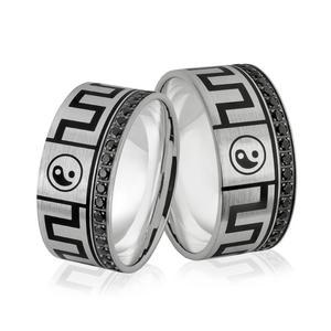 Obrączki srebrne z czarnymi cyrkoniami i znakami równowagi Yin i yang - wzór Ag-381 - 2856188098