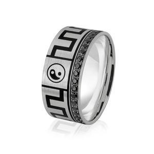 Obrączka srebrna męska z czarnymi cyrkoniami i znakami równowagi Yin i yang - wzór Ag-381 - 2856188099