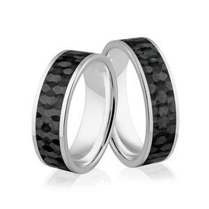 Obrączki ślubne z białego złota niklowego z włóknem węglowym - obrączki CARBON - Au-991 - 2856188108