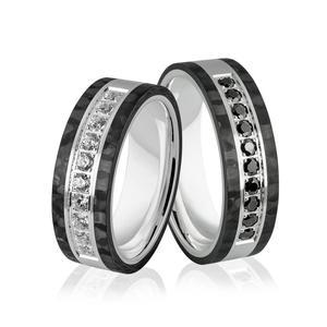 Obrączki ślubne z białego złota niklowego z włóknem węglowym - obrączki CARBON - Au-992 - 2856188110