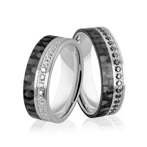 Obrączki ślubne z białego złota niklowego z włóknem węglowym - obrączki CARBON - Au-993 - 2856188112