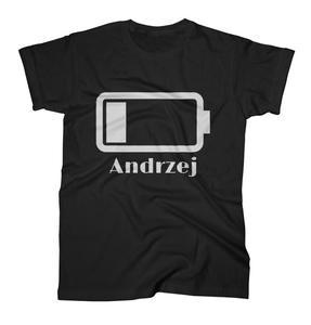 Koszulka męska z nadrukiem Bateria z imieniem dla taty na dzień ojca - 2868021157