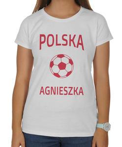 Koszulka damska kibica Reprezentacji Polski z piłką i imieniem - 2868021279