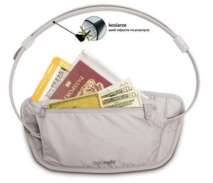 PacSafe Sekretna paszportówka na biodra Coversafe 100 szara - 2833124129