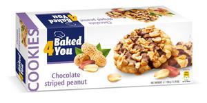 BAKED4YOU 150g Chocolate Striped Peanut Ciastka - 2833124505