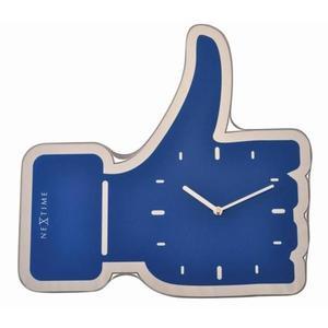 Nextime - zegar Thumbs Up niebieski 41,5 cm x 40 cm - 2824448411