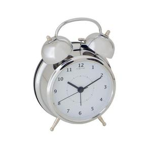 Nextime - budzik Wake Up srebrny mały - 2824445274