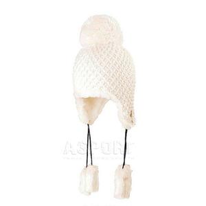 Czapka damska, uszatka, z pomponem, wełna 40% BADEN Loman Kolor: różowy - 2824073174