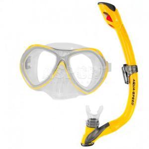 Fajka + maska nurkowa dla dzieci AURA + EVO żółta Aqua-Speed - 2824081315