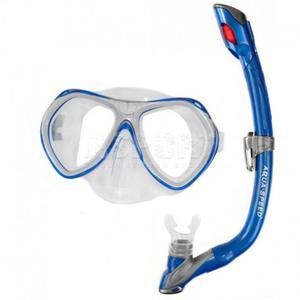 Fajka + maska nurkowa dla dzieci AURA + EVO niebieska Aqua-Speed - 2824081316