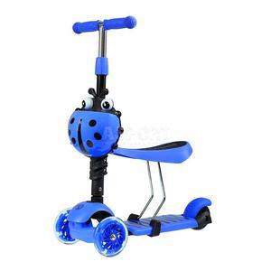 Hulajnoga 3-kołowa, jeździk 2w1 LED HLT-02 niebieska Nils Extreme - 2847505282