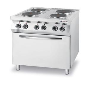 Kuchnia elektryczna 4 płyty z piekarnikiem konwekcyjnym GN1/1 Kitchen Line - Hendi 225936 - 2834196119
