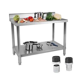 Stół do kuchni blat roboczy ze stali nierdzewnej z rantem i dolną półką 150x60cm - 2827717465
