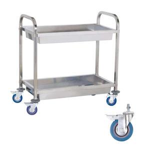 Wózek stalowy kelnerski 2 półkowy z głębokimi półkami - 2827717335