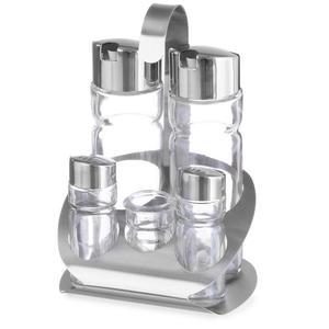 Zestaw do przypraw ze stali nierdzewnej sól pieprz oliwa ocet winny wykałaczki - Hendi 465363 - 2850652763