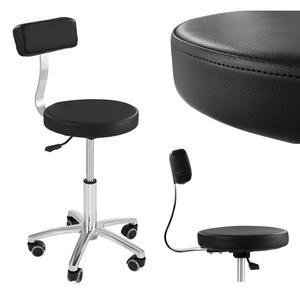 Krzesło kosmetyczne mobilne na kółkach Physa TERNI czarne - 2852140699