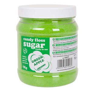Kolorowy cukier do waty cukrowej zielony o smaku jabłkowym 1kg - 2874439522