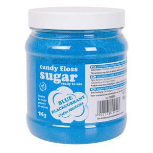 Kolorowy cukier do waty cukrowej niebieski o smaku czarnej porzeczki 1kg - 2874439529