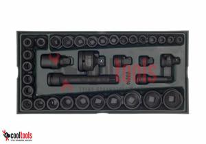 """Zestaw 36 kluczy nasadowych udarowych 3/8"""" i 1/2"""" metrycznych (wkładka do wózka narzędziowego) SATA 09914 - 2822994250"""