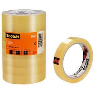 Taśma biurowa ekonomiczna SCOTCH (508), 19mm, 66m, 8szt., transparentny żółty - 2882263448