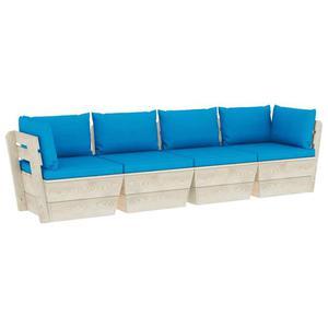 Emaga VidaXL Ogrodowa sofa 4-osobowa z palet, z poduszkami, drewno  - 2861717422