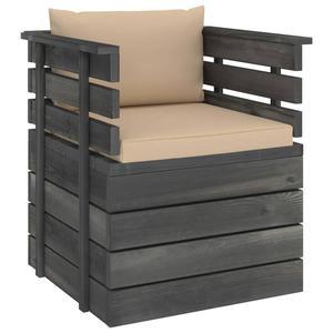 Emaga VidaXL Ogrodowy fotel z palet z poduszkami, drewno sosnowe - 2861717895