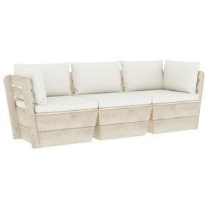 Emaga VidaXL Ogrodowa sofa 3-osobowa z palet, z poduszkami, drewno  - 2861727072
