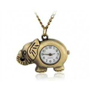 Zegarek naszyjnik retro brąz słoń stylowy modny - 2824377860
