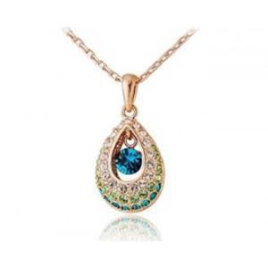 Piękny i elegancki naszyjnik kryształki Swarovski (zielony) - 2824377224