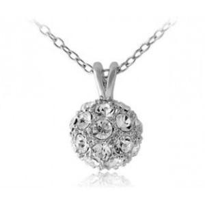 Elegancki stylowy naszyjnik kula kryształki RED APPLE (srebrny) - 2824376619