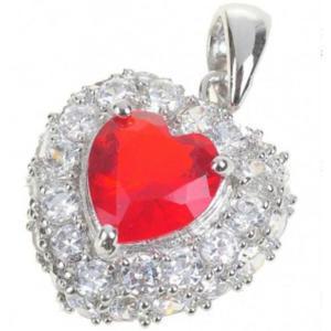 Modna i elegancka zawieszka wisiorek serce czerwony kryształ - 2824376710
