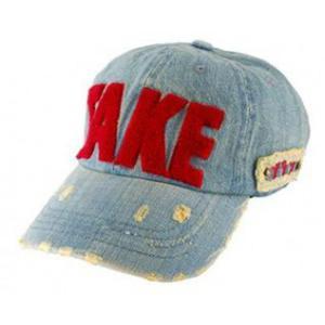 Modna czapka z daszkiem Denim styl retro bejsbolówka (czerwony napis) - 2824376699