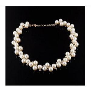 Modny naszyjnik perły i cyrkonie (biały) - 2824376782
