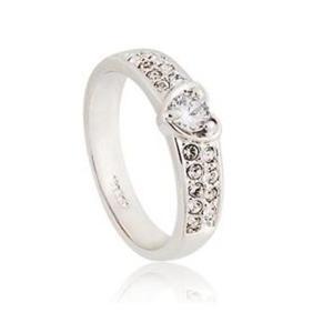 Stylowy modny pierścień ozdobiony sercem kryształki Swarovskiego stop RGP (srebrny) - 2824377477