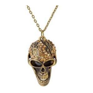Antyczny modny naszyjnik czaszka (brąz) - 2824376312