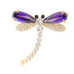 Stylowa i modna broszka z kryształkami STELLUX ważka (purpurowa) - 2824377404