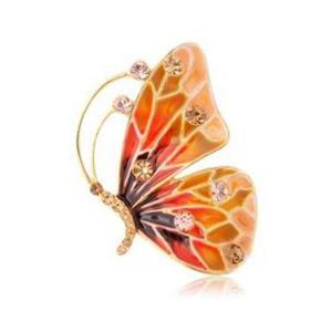 Stylowa i modna kolorowa broszka motyl platerowana złotem - 2824377406