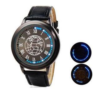 62b1df8efd6efe Niesamowity zegarek na rękę dotykowy LED dla biznesu z konturem kontynentów  ziemi - 2824376949