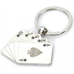 Brelok do kluczy karty poker (srebrny) - 2824376479