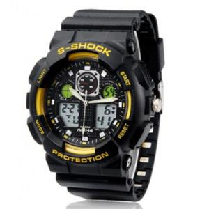 ALIKE AL35 Sportowy zegarek materiał TPU (czarno żółty) - 2824376309