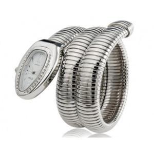 Srebrny elegancki modny zegarek damski bransoleta wąż - 2824377382