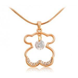 Naszyjnik miś złoty kryształki elegancki modny - 2824376851