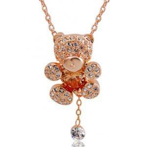 Naszyjnik RED APPLE złoty miś kryształki - 2824376306