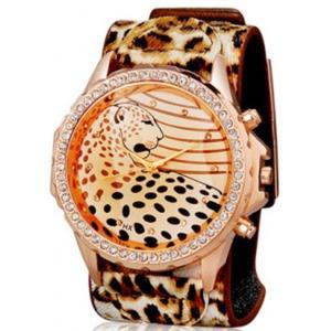 Zegarek damski kryształowy leopard (Brown) - 2824377706