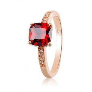 Pierścionek modny elegancki rubinowe oko kryształki szampańskie złoto - 2824377307