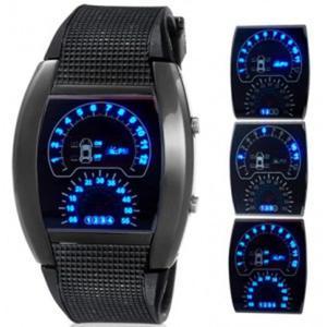 Zegarek sport led w stylu deski rozdzielczej samochodu data unisex (czarny) - 2824377864
