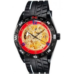 Zegarek szkieletowy mechaniczny automatyczny sportowy (kolor złoto czerwono czarny) - 2824377868