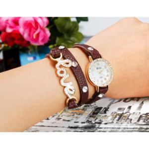 Modny zegarek kwarcowy potrójny pasek bransoleta desing LOVE (brązowy) - 2824376796