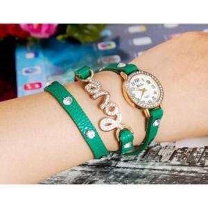 Modny zegarek kwarcowy potrójny pasek bransoleta desing LOVE (zielony) - 2824376797