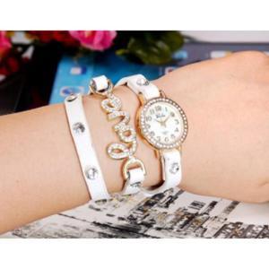 Modny zegarek kwarcowy potrójny pasek bransoleta desing LOVE (biały) - 2824376795